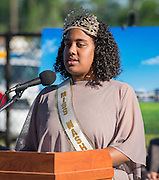 """""""Miss Washington"""" Taylor Brown comments during ground breaking ceremonies at Washington High School, April 5, 2016."""