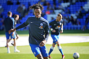 Peterborough United forward Ivan Toney (17) warming up before the EFL Sky Bet League 1 match between Peterborough United and Blackpool at The Abax Stadium, Peterborough, England on 29 September 2018.