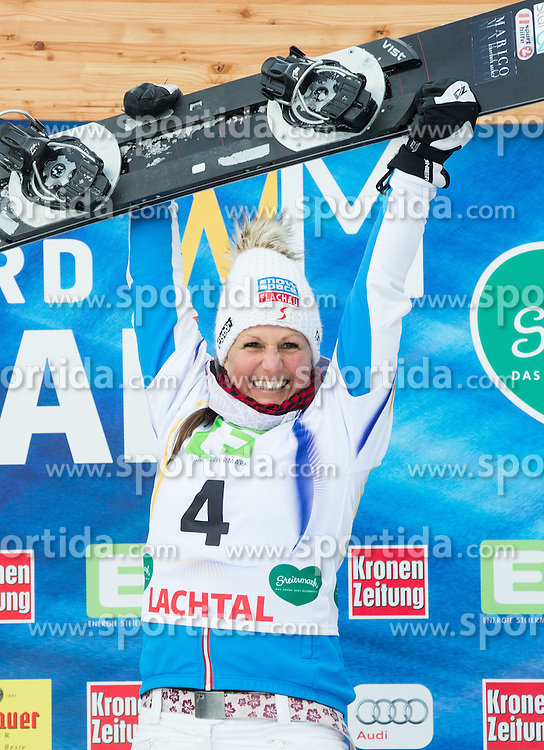 Winner Claudia Riegler of Austria celebrates at flower ceremony after the Men's Parallel Giant Slalom at FIS World Championships of Snowboard and Freestyle 2015, on January 23, 2015 at the WM Piste in Lachtal, Austria. Photo by Vid Ponikvar / Sportida