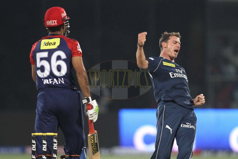 Dale Steyn of the Deccan Chargers celebrates after getting Irfan Pathan of the Delhi Daredevils wicket during match 23 of the the Indian Premier League (IPL) 2012  between The Delhi Daredevils and the Deccan Chargers held at the Feroz Shah Kotla, Delhi on the 19th April 2012..Photo by Shaun Roy/IPL/SPORTZPICS