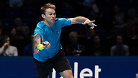 Tennis - 2017 Nitto ATP Finals at The O2 - Day Seven<br /> <br /> Mens Doubles: Semi Final 2 : Jamie Murray (Great Britain) & Bruno Soares (Brazil) Vs Henri Kontinen (Finland) & John Peers (Australia) <br /> <br /> John Peers (Australia) stretches to return the serve at the O2 Arena<br /> <br /> COLORSPORT/DANIEL BEARHAM