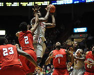 """Ole Miss' Terrance Henry (1) vs. Louisiana-Lafayette at C.M. """"Tad"""" Smith Coliseum in Oxford, Miss. on Wednesday, December 14, 2011. (AP Photo/Oxford Eagle, Bruce Newman)"""