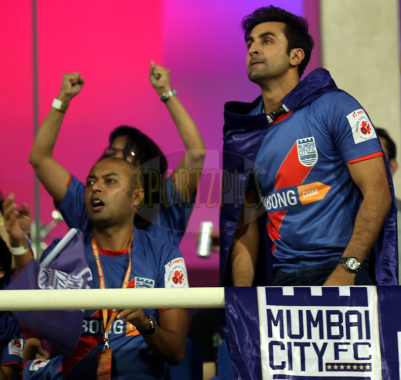Ranbir Kapoor owner of Mumbai City FC during match 22 of the Hero Indian Super League between Mumbai City FC and Delhi Dynamos FC City held at the D.Y. Patil Stadium, Navi Mumbai, India on the 5th November.<br /> <br /> Photo by:  Sandeep Shetty/ ISL/ SPORTZPICS
