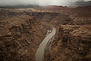 Ariel photograph of the Colorado River during a spring storm, Canyonlands National Park, Utah.