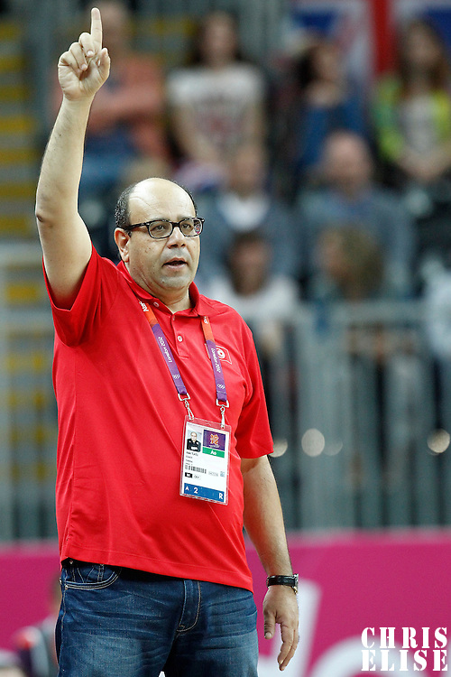 04 August 2012: Tunisia head coach Adel Tlatli is seen during 73-69 Team France victory over Team Tunisia, during the men's basketball preliminary, at the Basketball Arena, in London, Great Britain.