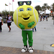 March 1, 2014, Palm Springs, California: <br /> BNP Paribas Open mascot Champ poses for a photograph during Kids Day at the Indian Wells Tennis Garden sponsored by the Coachella Valley National Junior Tennis and Learning Network.<br /> (Photo by Billie Weiss/BNP Paribas Open)