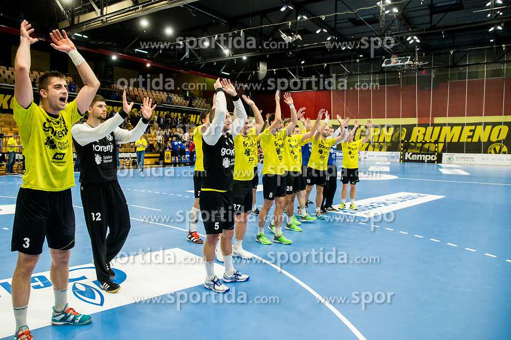 Players of Gorenje celebrate after winning during handball match between RK Gorenje Velenje and Vojvodina in Round #5 of SEHA League 2017/18, on October 2, 2017 in Rdeca dvorana, Velenje, Slovenia. (Photo by Vid Ponikvar / Sportida)