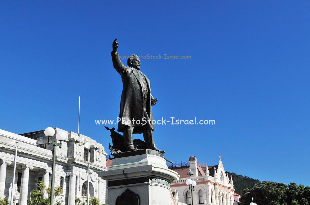 New Zealand, North Island, Wellington, Bronze sculpture of Richard John Seddon, stands outside the parliament buildings