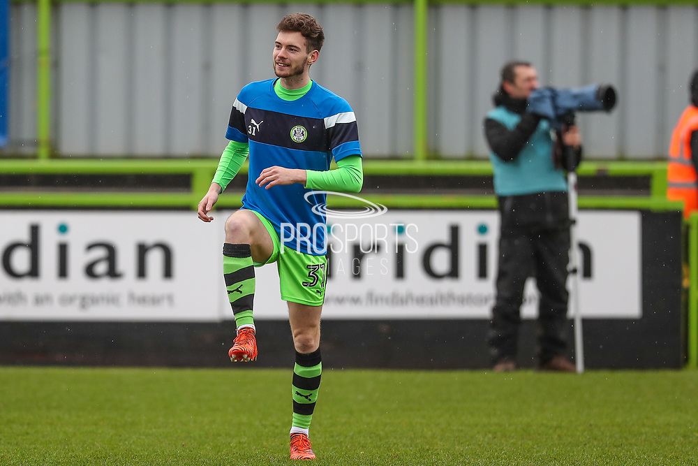 Forest Green Rovers Alex Bray(31) warming up during the EFL Sky Bet League 2 match between Forest Green Rovers and Coventry City at the New Lawn, Forest Green, United Kingdom on 3 February 2018. Picture by Shane Healey.