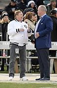 Dec 17, 2017; Oakland, CA, USA; Oakland Raiders owner Mark Davis (left) talks with Dallas Cowboys executive vice president Stephen Jones during an NFL football game at Oakland-Alameda County Coliseum.
