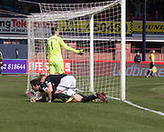 1st April 2018, Dens Park, Dundee, Scotland; Scottish Premier League football, Dundee versus Heart of Midlothian; Sofien Moussa of Dundee is congratulated after scoring for 1-1