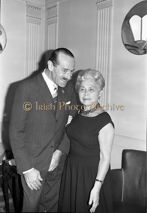 26/09/1962<br /> 09/26/1962<br /> 26 September 1962<br /> 40th Anniversary Party for Maindenform Inc., at the Gresham Hotel, Dublin. Picture shows  (l-r): Mr J.A. Chapman, managing Director, Switzer and Co. Ltd. and Mrs Ida Rosenthal, Chairman of the Board of Maidenform Incorporated.
