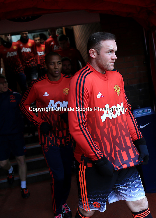 26th December 2015 - Barclays Premier League - Stoke City v Manchester United - Wayne Rooney of Man Utd walks out of the tunnel ahead of his teammates after being named as a substitute - Photo: Simon Stacpoole / Offside.