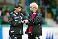 Fotball, 26. april 2003, Tippeligaen, Sogndal-Tromsø 3-1. Jan Halvor Halvorsen og Trond Fylling, trener-duo i Sogndal