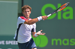 March 26, 2018 - Miami, FL, United States - KEY BISCAYNE, FL - March, 26:Pablo Carreno Busta in action plays during the 2018 Miami Open on March 24, 2018, at the Tennis Center at Crandon Park in Key Biscayne, FL. (Credit Image: © Andrew Patron via ZUMA Wire)