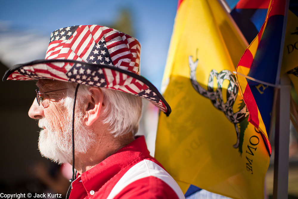 15 APRIL 2011 - PHOENIX, AZ: JOHN SANBORN, a Tea Party supporter, at the Tea Party rally in Phoenix, AZ, Friday. About 500 supporters of the Tea Party movement rallied Friday at the Arizona State Capitol to mark tax day. They protested high taxes, the federal deficit, the debt limit and immigration policy. About 50 pro-immigrant protesters held a counter rally at the capitol. At least one person was arrested, and others led away by police after several shouting matches between Tea Party supporters and the immigrants rights protesters broke out.     Photo by Jack Kurtz