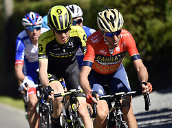 April 18, 2018 - Huy, BELGIUM - (rear to front) French Anthony Roux of FDJ, German Maximilian Schachmann of Quick-Step Floors, Australian Jack Haig of Mitchelton - Scott and Italian Vincenzo Nibali of Bahrain-Merida pictured in action during the 82nd edition of the men's race of 'La Fleche Wallonne', a one day cycling race (Waalse Pijl - Walloon Arrow), 198,5km from Seraing to Huy, Wednesday 18 April 2018. BELGA PHOTO ERIC LALMAND (Credit Image: © Eric Lalmand/Belga via ZUMA Press)