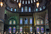 Inside the Blue Mosque, the world's largest, in Istanbul