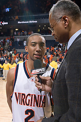 Virginia Cavaliers guard J.R. Reynolds (2) is interviewed by ESPN after his final home game at UVA.  The Virginia Cavaliers Men's Basketball Team defeated the Virginia Tech Hokies 69-56 at the John Paul Jones Arena in Charlottesville, VA on March 1, 2007.