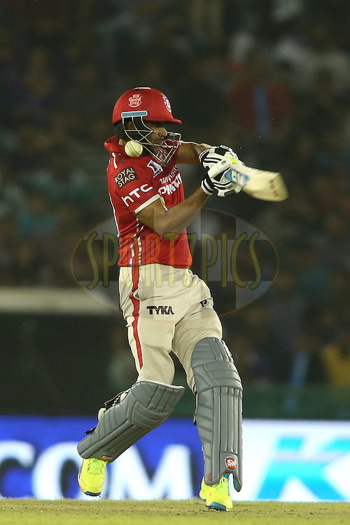Pardeep Sahu of Kings XI Punjab gets hit by a short delivery during match 13 of the Vivo Indian Premier League (IPL) 2016 between the Kings XI Punjab and the Kolkata Knight Riders held at the IS Bindra Stadium, Mohali, India on the 19th April 2016<br /> <br /> Photo by Shaun Roy / IPL/ SPORTZPICS