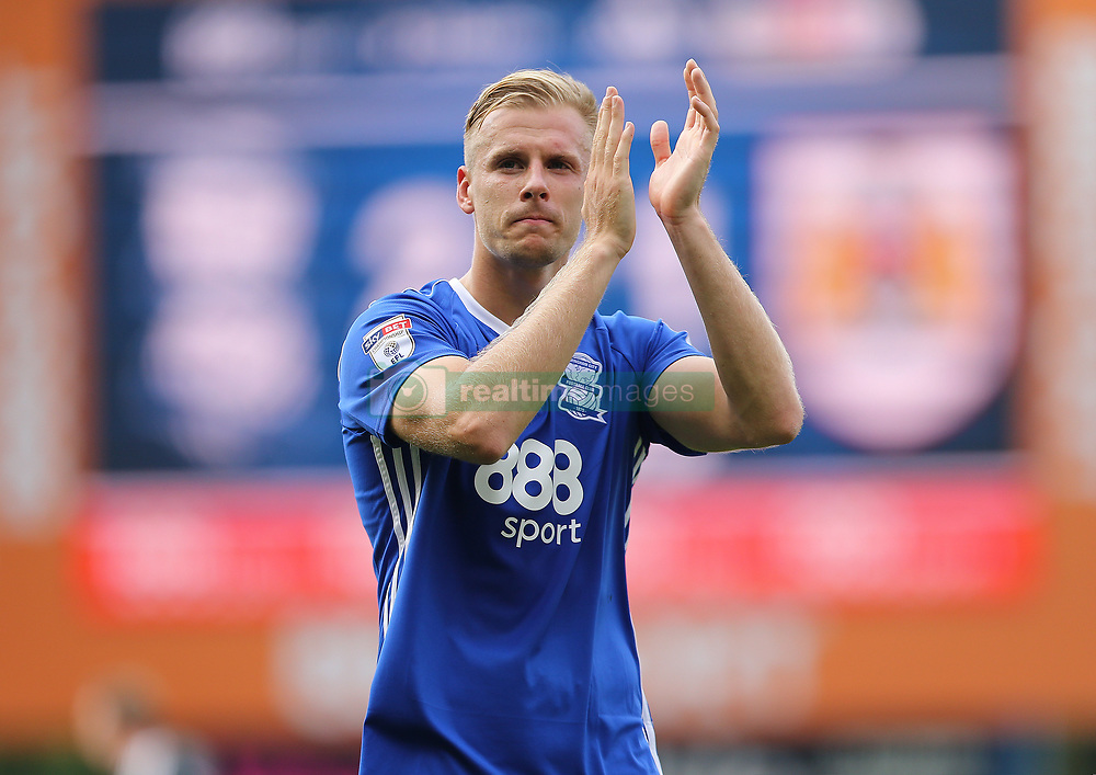 Birmingham City's Marc Roberts applauds the fans at the end of the match against Bristol City