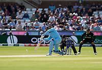 Cricket - 2019 ICC Cricket World Cup - Group Stage: England vs. NZ<br /> <br /> Jason Roy of England hits for 4 from Mitchell Santner of New Zealand, at the Riverside, Chester-le-Street, Durham.<br /> <br /> COLORSPORT/BRUCE WHITE