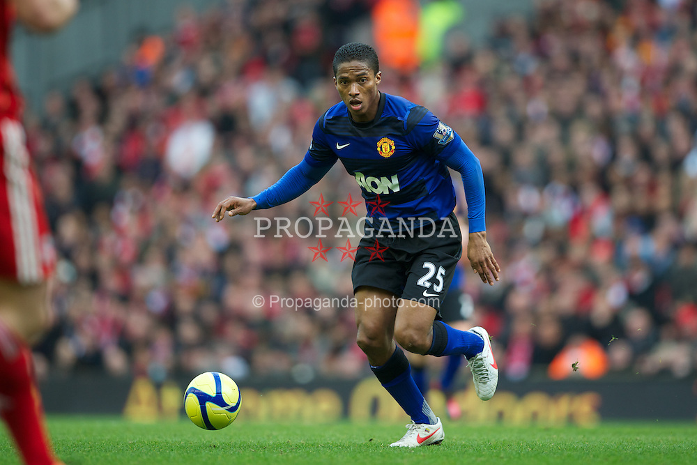 LIVERPOOL, ENGLAND - Saturday, January 28, 2012: Manchester United's Antonio Valencia in action against Liverpool during the FA Cup 4th Round match at Anfield. (Pic by David Rawcliffe/Propaganda)