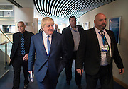 © Licensed to London News Pictures. 30/09/2014. Birmingham, UK . Mayor of London Boris Johnson heads to the conference hall to deliver his speech. The Conservative Party Conference in Birmingham 30th September 2014. Photo credit : Stephen Simpson/LNP
