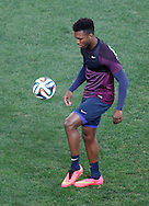 Daniel Sturridge of England in action during the England training session at Arena Corinthians, Sao Paulo, Brazil, on the eve of their World Cup 2014 Group D match against Uruguay.<br /> Picture by Andrew Tobin/Focus Images Ltd +44 7710 761829<br /> 18/06/2014