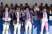 """Henley on Thames, United Kingdom, 8th July 2018, Sunday, View,  """"Fifth day"""", of the annual,  """"Henley Royal Regatta"""", Henley Reach, River Thames, Thames Valley, England, © Peter SPURRIER, Prize Giving,The Queen Mother Challenge Cup - 2018<br /> Leander Club and Agecroft Rowing Club, left to right, John COLLINS, Jonny WALTON, Greame THOMAS and Tom BARRAS,"""