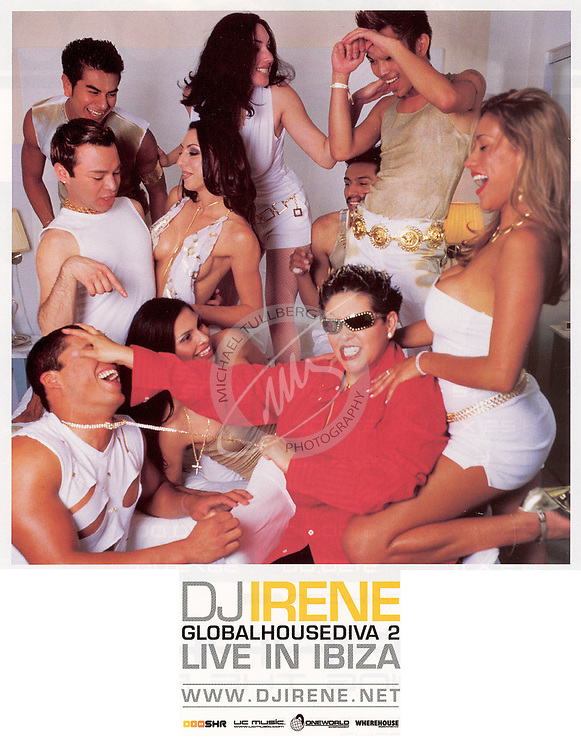 "Publicity shot for DJ Irene's album ""Live In Ibiza"". This wasn't actually shot in Ibiza--instead, we did this clandestinely in one of Hollywood's swankiest hotels. We actually almost got booted out of there twice because of the ""party"" they thought we were holding. If only they knew the truth!"