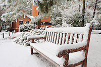 Bench and Corolla NC lighthouse in rare Outer Banks snow.