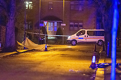 © Licensed to London News Pictures. 19/12/2019. London, UK. A plastic sheet covers a crime scene on Courtland Avenue after reports of a fight, two men were later found a short distance from the scene with stab wounds, one of the victims later died. Police were called to Courtland Avenue, NW7, at 20:11GMT following a report of a fight in progress. Officers attended however no trace of any victim or suspects was found. At 20.27GMT, police were called by the London Ambulance Service to Barnet Bypass, near Scratchwood Park, to reports of a man, in his 20s, with stab injuries. Officers attended. The man was treated at the scene by paramedics before being taken to hospital. After a search of a car found at the scene, a man, in his 30s, was found inside a vehicle with stab wounds. Despite the efforts of emergency services, he was declared dead a short time later.. Photo credit: Peter Manning/LNP