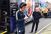 Leroy Sane (19) of Manchester City gets off the team bus on arrival at the Viatlity Stadium before the Premier League match between Bournemouth and Manchester City at the Vitality Stadium, Bournemouth, England on 2 March 2019.