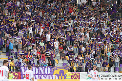 Fans at last football match of PrvaLiga Telekom Slovenije between NK Maribor and NK Interblock, when Maribor became a Slovenian National Champion, on May 23, 2009, in Ljudski vrt, Maribor. (Photo by Marjan Kelner/Sportida)