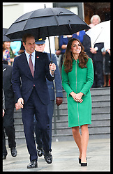 The Duke and Duchess of Cambridge at the War Memorial  in Cambridge, New Zealand. Friday, 11th April 2014. Picture by  i-Images