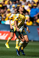 SYDNEY, AUSTRALIA - NOVEMBER 09: Sam Kerr of Australia shows some emotion after missing a chance during the International friendly soccer match between Matildas and Chile on November 09, 2019 at Bankwest Stadium in Sydney, Australia. (Photo by Speed Media/Icon Sportswire)