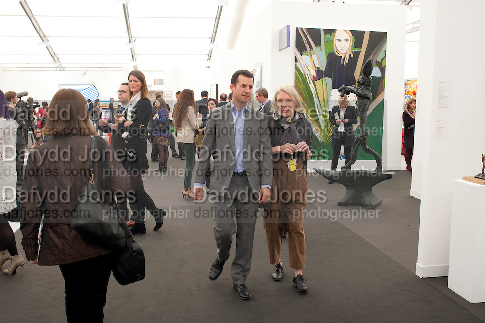 MATTHEW SLOTOVER; EMILY KING, OPENING OF FRIEZE ART FAIR. Regent's Park. London.  12 October 2011. <br /> <br />  , -DO NOT ARCHIVE-© Copyright Photograph by Dafydd Jones. 248 Clapham Rd. London SW9 0PZ. Tel 0207 820 0771. www.dafjones.com.