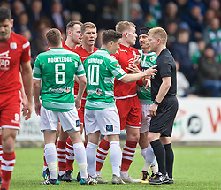 RHOSYMEDRE, WALES - Sunday, May 5, 2019: Referee David Morgan speaks to The New Saints' Danny Redmond during the FAW JD Welsh Cup Final between Connah's Quay Nomads FC and The New Saints FC at The Rock. (Pic by David Rawcliffe/Propaganda)