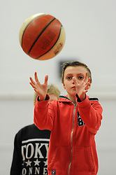 Bristol Flyer fans take part in a competition at half time - Photo mandatory by-line: Dougie Allward/JMP - Mobile: 07966 386802 - 28/03/2015 - SPORT - Basketball - Bristol - SGS Wise Campus - Bristol Flyers v London Lions - British Basketball League