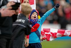 Stoke City mascots wave flags before kick off - Photo mandatory by-line: Rogan Thomson/JMP - 07966 386802 - 01/01/2015 - SPORT - FOOTBALL - Stoke-on-Trent, England - Britannia Stadium - Stoke City v Manchester United - New Year's Day Football - Barclays Premier League.