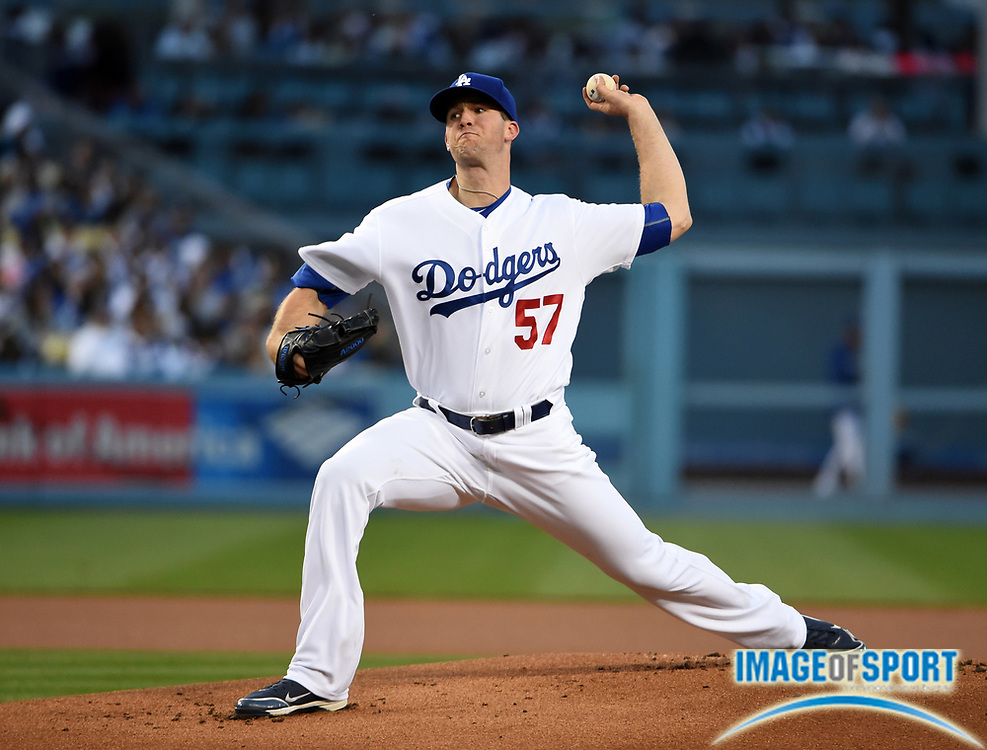 Apr 13, 2016; Los Angeles, CA, USA; Los Angeles Dodgers starting pitcher Alex Wood (57) delivers a pitch against the Arizona Diamondbacks during a MLB game at Dodger Stadium.