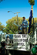 Rally to protest the demolition-by-neglect (and government indifference) of the Guildford Hotel.<br /> February 2, 2013