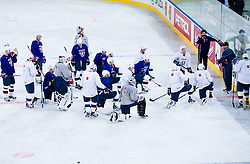 Matjaz Kopitar, head coach talks to players during practice session of Slovenian National Ice Hockey team first time in Arena Stozice before 2012 IIHF World Championship DIV I Group A in Slovenia, on April 13, 2012, in Arena Stozice, Ljubljana, Slovenia. (Photo by Vid Ponikvar / Sportida.com)
