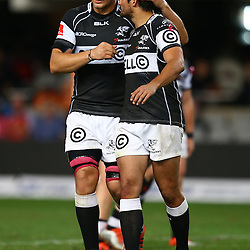 DURBAN, SOUTH AFRICA - AUGUST 22:  Etienne Oosthuizen of the Cell C Sharks with  Lionel Cronje of the Cell C Sharks during the Absa Currie Cup match between Cell C Sharks and Xerox Golden Lions at Growthpoint Kings Park on August 22, 2015 in Durban, South Africa. (Photo by Steve Haag/Gallo Images)
