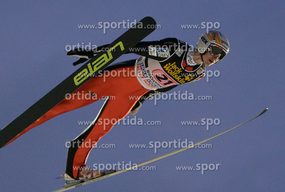 Mitja Meznar of Slovenia competes during First round of the FIS Ski Jumping World Cup event of the 58th Four Hills ski jumping tournament, on January 6, 2010 in Bischofshofen, Austria. (Photo by Vid Ponikvar / Sportida)