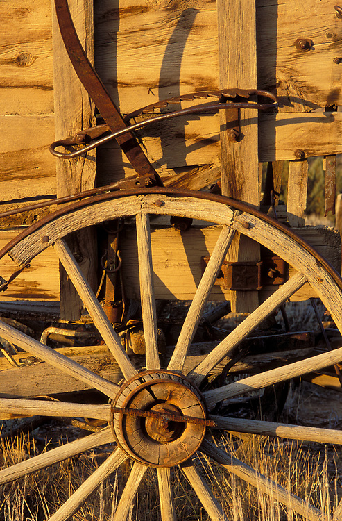 Old wooden wagon and wheel at Percy's Wildlife Retreat, Lake County, Oregon.