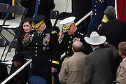 Members of the Joint Chiefs Salute as they arrive for the Inauguration of President-elect Donald Trump as the 45th President on Capitol Hill January 20, 2017 in Washington, DC. Chief of Staff of the Army Gen. Mark A. Milley is on the left and Commandant of the Marine Corps	 Gen. Robert B. Neller the right.