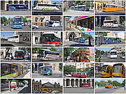 Eastern Europe, Hungary, Budapest, 24 image collage of transportation images in Budapest
