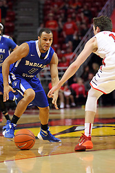 17 February 2016: Brenton Scott works the outside defended by Justin McCloud(15) during the Illinois State Redbirds v Indiana State Sycamores at Redbird Arena in Normal Illinois (Photo by Alan Look)